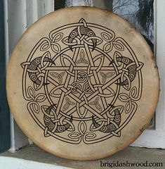 Celtic Moon Pentacle Bodhran Drum - Hand painted---Would like to burn a design like this onto wood