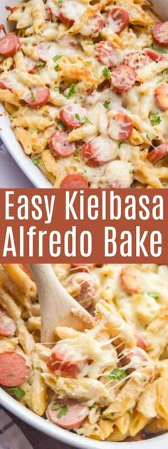 This one was a hit! Making it again this week Kielbasa Alfredo Bake. This one was a hit! Making it again this week Kielbasa Alfredo Bake. Kilbasa Sausage Recipes, Polish Sausage Recipes, Sausage Pasta Recipes, Easy Pasta Recipes, Casserole Recipes, Easy Dinner Recipes, Crockpot Recipes, Dog Food Recipes, Cooking Recipes