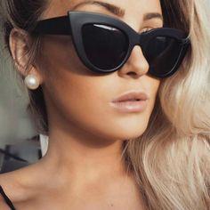 2018 New Women Cat Eye Sunglasses Matt black Brand Designer Cateye Sun glasses For Female goggles Stylish Sunglasses, Luxury Sunglasses, Oversized Sunglasses, Cat Eye Sunglasses, Sunglasses Women, Vintage Sunglasses, Sunglasses Accessories, Beauty And Fashion, Hair