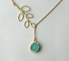 Blue glass stone and leaf necklace  lariat gold by DelicacyJ, $28.00