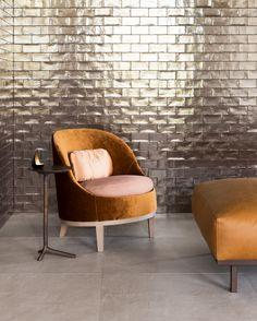 Signature tile - copper Concrete tile - earth | BELLE armchair | DON hocker | KLINK sidetable