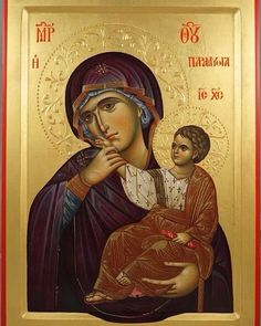 High quality hand-painted Orthodox icon of Panagia Paramythia. BlessedMart offers Religious icons in old Byzantine, Greek, Russian and Catholic style. Byzantine Icons, Byzantine Art, Religious Icons, Religious Art, Blessed Mother Mary, Blessed Virgin Mary, Paint Icon, Sign Of The Cross, Russian Icons