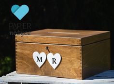 "Personalizowany kufer na koperty ślubne wzór ""Rustic box I"""