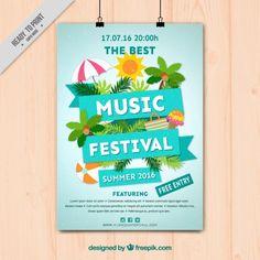 Music festival poster with summer elements Free Vector Musikfestivalplakat mit Sommerelementen Kostenlose Vektoren Musikfestival Poster, Summer Poster, Event Poster Design, Photoshop, Tropical Party, A 17, Layout Design, Design Design, Lorem Ipsum