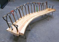 Found on Good Home Design: Old Shovels + Wood = Special Recycled Wood Bench