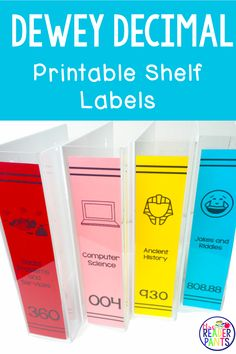 These Dewey Decimal System labels are printable! Use old textbooks or acrylic file holders to label your library shelves beautifully! Math Fractions, Math Math, Math Games, Dividing Fractions, Equivalent Fractions, Multiplication, Maths, Library Lesson Plans, Library Skills