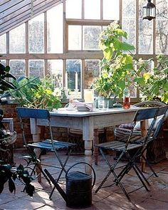 conservatory with my table Outside Living, Outdoor Living, Potting Sheds, Potting Benches, Outdoor Spaces, Outdoor Decor, Pergola, Glass House, Conservatory