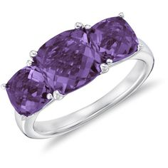 Blue Nile Amethyst Three Stone Ring in Sterling Silver ($88) ❤ liked on Polyvore