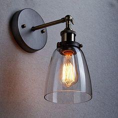 CLAXY Applique Murale Lampe Antique Réglable Luminaires Intérieur Culot E27 abat-jour en Verre Diamètre 14 CM