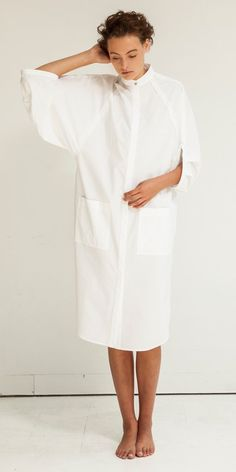 Look Eclipse Artisan Shirt Dress in White Modest Dresses, Casual Dresses, White Shirts, Minimal Fashion, Hijab Fashion, Celine, Blouses For Women, Lounge Wear, Cool Outfits