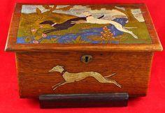 1920 antique original wooden trinket box
