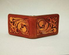 Hand Tooled Leather Money Bar Clip & Card by SwallowsLeatherArt