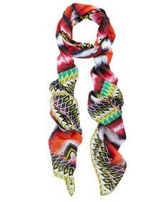 Peter Pilotto orange optical printed silk scarf
