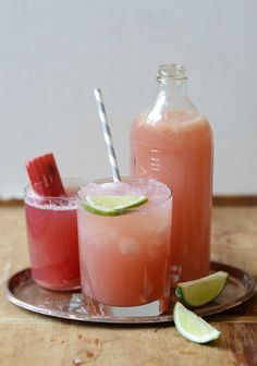 The Rhubarb Sour ~ gin, lime juice, rhubarb simple syrup, rhubarb bitters, lemon lime soda, lime