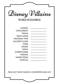 FREE PRINTABLE: Disney Villains Word Scramble | About.com Family Vacations #Disney #DisneyVillains #printable