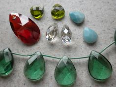 An assortment of briolettes in crystal and gemstones
