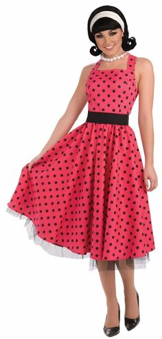 Instead of cooking and cleaning, turn a stereotype on its head when you party in this House Wife adult womens costume. The retro-style, pink and black polka dot dress of this womens costume comes complete with a matching crinoline and a belt Housewife Costume, 1950s Housewife, Black Polka Dot Dress, Pink Polka Dots, Sock Hop Costumes, 1950s Costumes, Baby Costumes, Adult Costumes, Vintage Decor