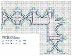 Material: - Linha Anchor Torçal Pérola, 1 meada de cada das cores indicadas na chave de cores. - Agulha Tapestry Corrente Milward n.º 18. - Linha Drima para as costuras. - Tecido Étamine na cor cinza com 95x95cm (toalha), 20x45cm (capa para galão) e 20x35cm (puxa saco). - Viés com 1 e 2cm de