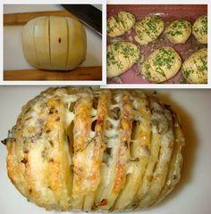 Cheesy Hasselback potatos: http://myfridgefood.com/recipes/salads-and-sides/cheesy-hasselback-potatoes