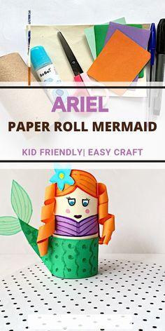 ARIEL CRAFT WITH PAPER ROLLS #mermaidcrafts Kids Activities At Home, Kids Wedding Activities, Mermaid Kids, Mermaid Crafts, Toilet Paper Roll Crafts, Paper Crafts, Beach Crafts For Kids, Princess Crafts, Indoor Crafts