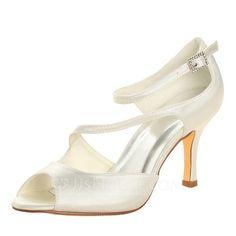 [AU$62.00] Women's Satin Stiletto Heel Peep Toe Sandals With Buckle
