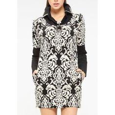 Long Sleeve Turn Down Collar Ethnic Print Design Packet Buttock Women's Dress