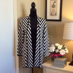 """Kasper chevron pattern long cardigan  Beautiful and perfectly weighted.  The Chevron pattern is timeless.  Practice your """"thank you"""" smile for all the compliments sure to come your way while wearing this.  Kasper Sweaters"""