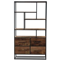 Bookcase low, 4 drawers, 4 open racks d-Bodhi Urban Collection Kasten Industrial Design Furniture, Furniture Design, Ladder Bookcase, Bookshelves, Display Shelves, Home And Living, Diy Projects, Urban, Cabinet