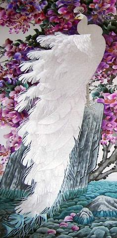 White Peacock, silk thread art, all handmade embroidery with silk threads by embroidery artists in Su Embroidery Sudio, Suzhou China