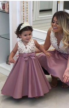 Ideas For Party Dress Birthday Flower Girls Fashion Kids, Korean Fashion, Winter Fashion, Dresses Kids Girl, Girl Outfits, Dresses For Children, Mother Daughter Fashion, Dress Anak, Ivory Flower Girl Dresses