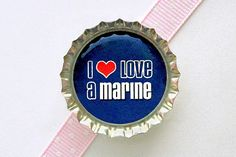 Military I Love A Marine Bottle Cap Magnet  marine by CherryCute, $1.60