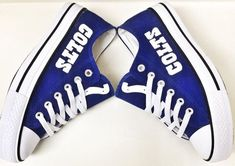 Stand out from the crowd with Indianapolis Colts team spirit in these adorable Converse style sneakers that have handmade Indianapolis Colts designs. Football Baby, Football Season, Football Team, Peyton Manning, Go Blue, Indianapolis Colts, New York Giants, Fan Gear, Royal Blue