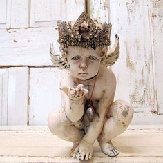 Distressed painted cherub statue creamy white Nordic angel figure w/ amazing handmade ornate rhinestone crown home decor anita spero design