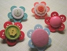 DIY Colorful Button Flower Pins