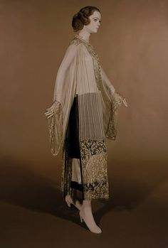 Callot Soeurs 1922 afternoon dress, pleated silk chiffon and gold lace, via the Victoria and Albert Museum