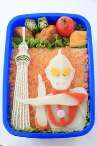 "New Tokyo Sky-tree with Japanese Hero ""Ultraman"" Bento / 東京スカイツリー&ウルトラマンのコラボ弁当"