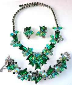 Vintage Juliana Blue Green Givre Rhinestone Necklace, Bracelet & Earrings-D&E