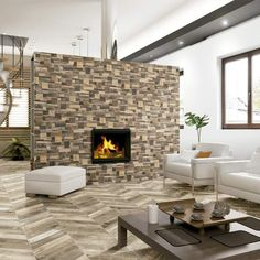 Pallet Multicolour Wall Tile Tiles from - Tons of Tiles Brick Style Tiles, Brick Tiles, Buy Pallets, Wood Pallets, Wood Effect Tiles, Wall Tiles Design, Repurposed Wood, Porcelain Tiles, Porcelain Ceramics