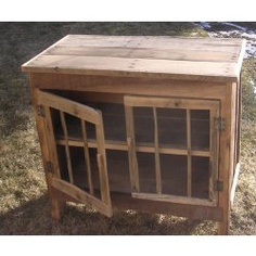 Rustic cabinet made from repurposed shipping pallets.