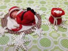 Baby Boy in a Christmas Outfit  Cake Topper by anafeke on Etsy, $17.00