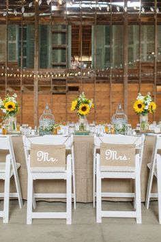 mr and mrs chair signs toddler fold out 141 best wedding images rustic chic fall sunflower weddings decorations