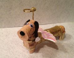 Items similar to Dachshund Angel Dog - Wine Cork Doxie Ornament, Wine Christmas Gift, Guardian Angel, Wine Gift Doxie on Etsy Wine Craft, Wine Cork Crafts, Wine Bottle Crafts, Wine Bottles, Wine Christmas Gifts, Wine Cork Art, Wine Corks, Wine Cork Ornaments, Wine Cork Projects