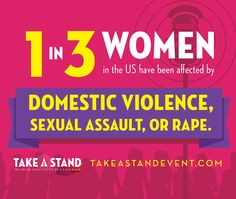 1 in 3 women and 1 in 7 men in the US  and up to 70% of women worldwide have been affected by domestic violence, sexual assault or rape. I'm one of those statistics and it has to stop. We're creating a groundbreaking conversation at the online interview series #takeastandevent Join us to stop this epidemic and start a movement of women rising. #domesticviolence #domesticviolenceawareness #domesticviolencesurvivors #sexualassault #rape #NCADV #NRCDV #NNEDV #1billionrising