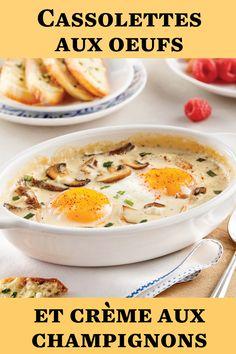 Vous êtes de ceux qui ont la dent salée? Laissez-vous tenter par cette recette de cassolette déjeuner hyper facile à préparer! Brunch, Cheeseburger Chowder, Eggs, Breakfast, Food, Kitchen Nook, Mushroom, Drinks, Recipe