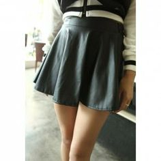 $6.22 Solid Color Retro Style PU Leather Skirt For Women