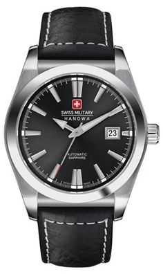 HANOWA SWISS MILITARY Colonel Auto miesten kello | Timanttiset.fi Cool Watches, Omega Watch, Black Leather, Military, Accessories, Jewelry, Collection, Jewlery, Bijoux