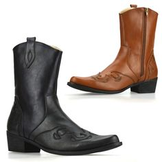 1b2ad5f09d917 Mens New Cuban Heel Western Style Zip Up Ankle Cowboy Biker Boots Shoes Size