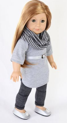 American Girl Doll Clothes, MODERN HIPSTER, Sweatshirt Mini Dress, Striped Infinity Scarf and Leggings, Silver Belt & Ballet Flats
