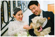 San Francisco City Hall wedding portrait with a dog. #dogwedding #sfcityhall