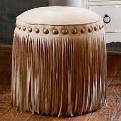 I'm nor one for fringe but I love this stool.❤❤ Junk Gypsy Austin Fringe Vanity Stool | PBteen